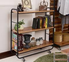 rack ups 3 rack width 85 cm mush wood shelves shelf wagon storage rack with casters display rack black steel pipe retro open rack storage shelf living room