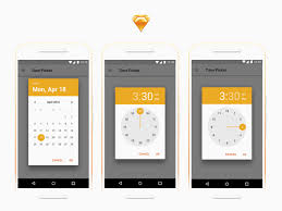 Android Date and Time Pickers Freebie - Download Sketch Resource ...
