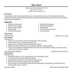 Interesting Resumes For Housekeeping Ravishing Resume Hospital