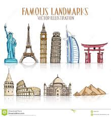 architectural drawings of famous buildings. Beautiful Drawings Set Of Colorful Drawing Famous And Popular Landmarks On Architectural Drawings Of Buildings