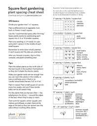 square foot gardening plant spacing cheat sheet and print