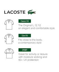 Lacoste Size Chart