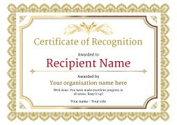 Yellow Certificate Of Recognition Template