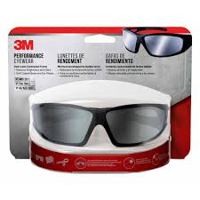 3m safety eyewear glasses black frame with gray accent silver mirror anti fog