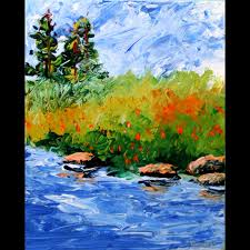 mark adam webster mark webster foothill river abstract palette knife acrylic painting