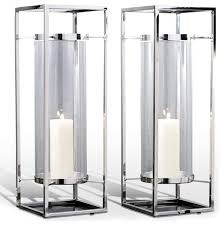 candle holders candles and pair adour silver glass modern square tall hurricane candle