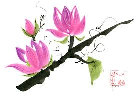 finished painting of magnolia blossoms on a branch in the chinese brush painting style