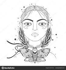 красивая молодая девушка лицо переднего плана урожай эскиз стиль