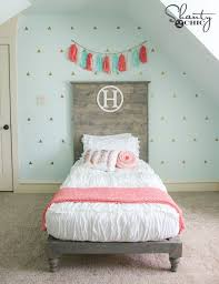 white wood twin headboard. DIY Twin Bed By Such Great Headboard With This Chic White Bedding And It Zips Inside Wood