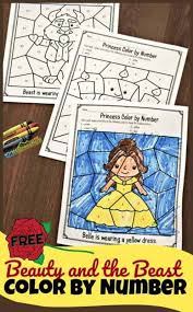 Fun activity for toddlers and preschoolers! Free Beauty And The Beast Color By Number Worksheets