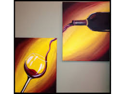 paint and sip pour me a glass great for date night 2 panel
