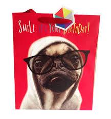 large pug birthday gift bag