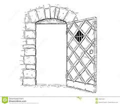 open door drawing perspective. Uncategorized Open Door Drawing Unbelievable Cartoon Vector Of Wooden Medieval Decision Stock Image Perspective L
