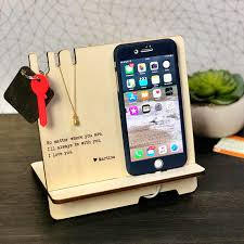 personalized docking station wooden phone stand desk organizer love e father s day gifts boyfriend friend wife dad in party favors from home