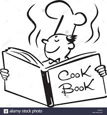 a chef opening a cook book stock vector