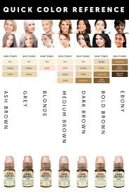 Phibrows Color Chart Pigment Color Chart In 2019 How To Color Eyebrows Skin