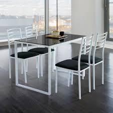 Table De Cuisine Verre Ensemble Noa Chaises Noir Achat Ensemble De