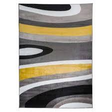 abstract contemporary modern gray yellow area rug