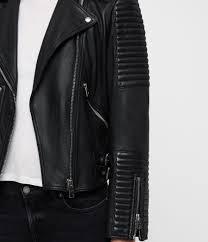 womens estella leather biker jacket black image 4