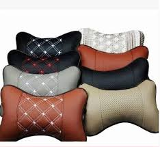 New Genuine Leather Headrest Neck Pillow Car Auto Seat Cover Head