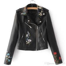 new autumn winter women pu faux leather jackets lady slim fit motorcycle zipper black embroidery coat 5 colour cbj hockey hooded jackets from heyan0117