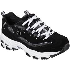skechers black walking shoes. skechers women\u0027s d\u0027lites me time walking shoe - black/white black shoes