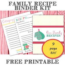 free printable family recipe binder kit from the bright side of reality organize your recipes makes an awesome gift idea for food diy