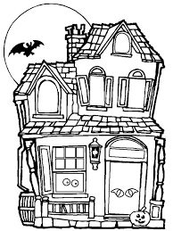 Small Picture Spooky and Haunted Halloween Day House Coloring Page NetArt