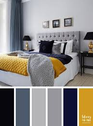 15 Best Color Schemes For Your Bedroom U2013 Grey,navy Blue And Mustard Color  Inspiration
