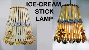 diy lamp with icecream stick craft ideas at home