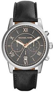 men s michael kors hawthrone black leather watch mk8393 loading zoom