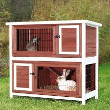 Trixie Pet Products 2-Story Rabbit Hutch - Brown/White - Rabbit Cages &  Hutches at Hayneedle