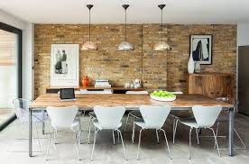 gray marble floor brick wall shiny metal pendant ls wooden surface metal dining table white dining
