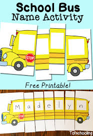 Small Picture School Bus Name Activity with Free Printable Totschooling