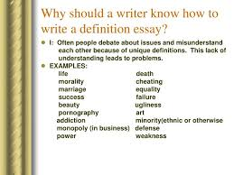 example of how to write a definition paper will be one paragraph each and the body should have three paragraphs each covering a different aspect of the topic or a different form of definition
