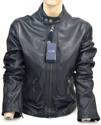 details about armani jeans woman leather jacket spring casual free time code p6b61