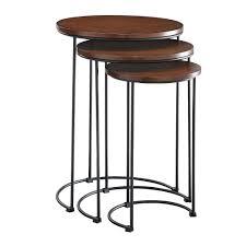 ina cottage mackintosh chestnut and black round nesting table set of 3