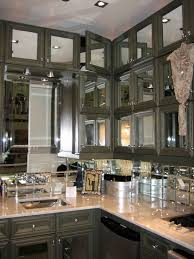 Mirror Tile Backsplash Kitchen Transitional Kitchen With Glass Tiles Mirrored Backsplash And