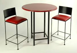 black and red bitro bar set with 24 inch stools and 36 table