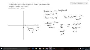 finding the equation of a hyperbola given transverse axis length center and focus