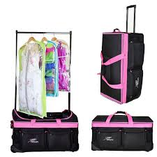the closet trolley rolling duffel pink