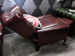 immaculate chesterfield queen anne wing back recliner chair oxblood red leather uk delivery