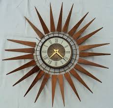 vtg seth thomas wood starburst wall clock mid century danish