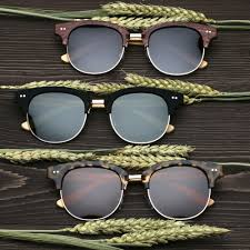 details about cat eye womens round polarized bamboo wood sunglasses wooden retro vintage frame