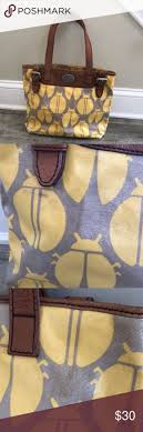 Fossil Key Per Lady Bug Bag with Brown Trim