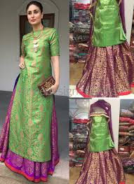 Shop Green Banarasi Silk Lehenga Style Suit Online