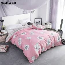 white flowers on pink duvet cover 1 pc plaid quilt cover with zipper for home bedding