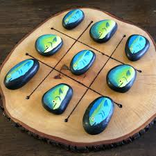 Game With Rocks And Wooden Board Outdoor Board Game TicTacToe Board with handpainted fish rocks 6