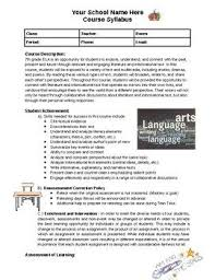 creating a syllabus editable syllabus for ela school teachers sample language