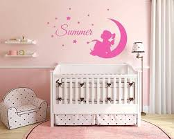 custom girl name fairy on moon stars and bird nursery bedroom wall decor decal star theme staroon baby bedding 2 sun